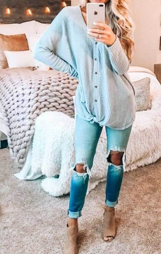 Blue Colored Spring Outfits for Women