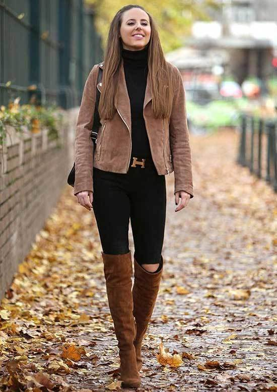 Brown Boots Black Jeans Outfit Ideas