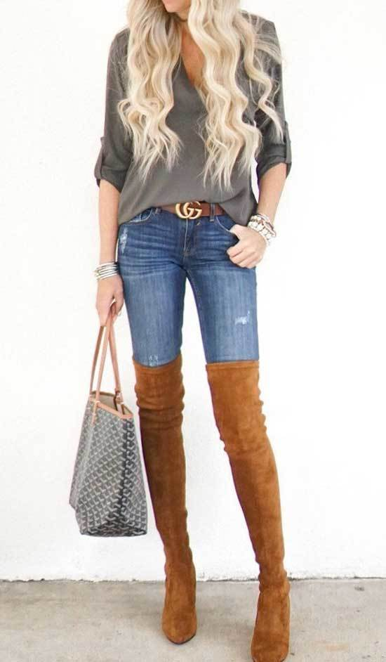 Brown Boots Blue Jeans Outfit Ideas
