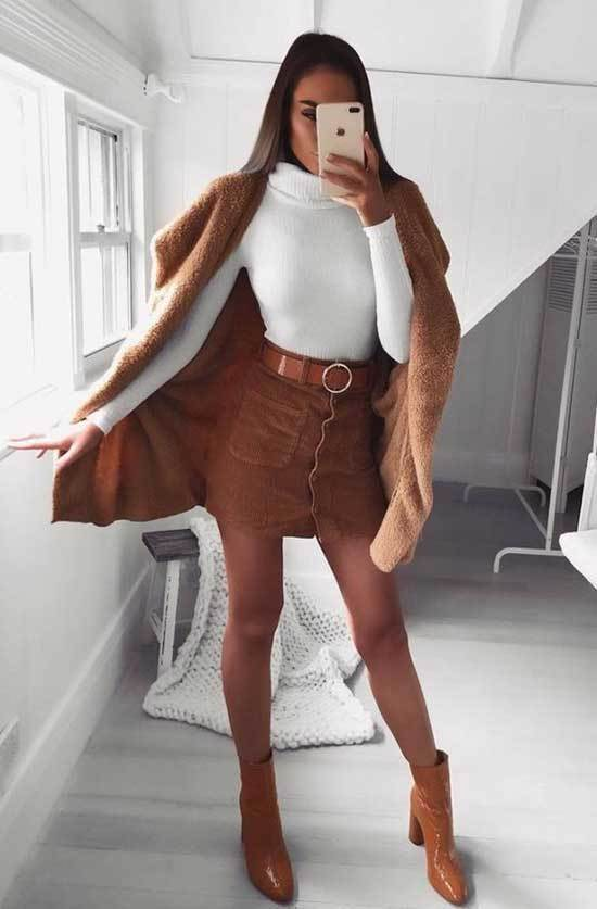 Brown Boots Flirty Outfit Ideas