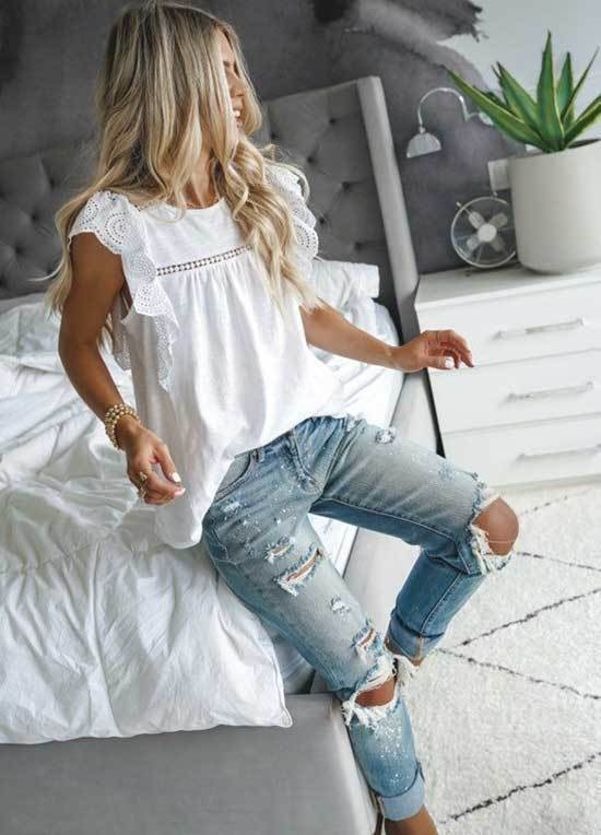 Cute Outfits with All Ripped Blue Jeans