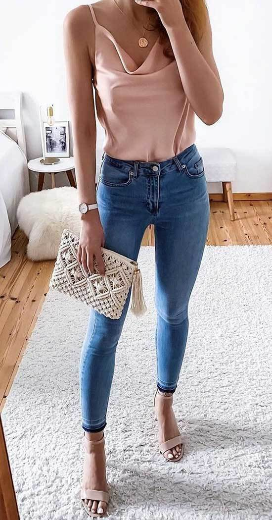 Cute Pink Tank Top Outfits with Blue Jeans