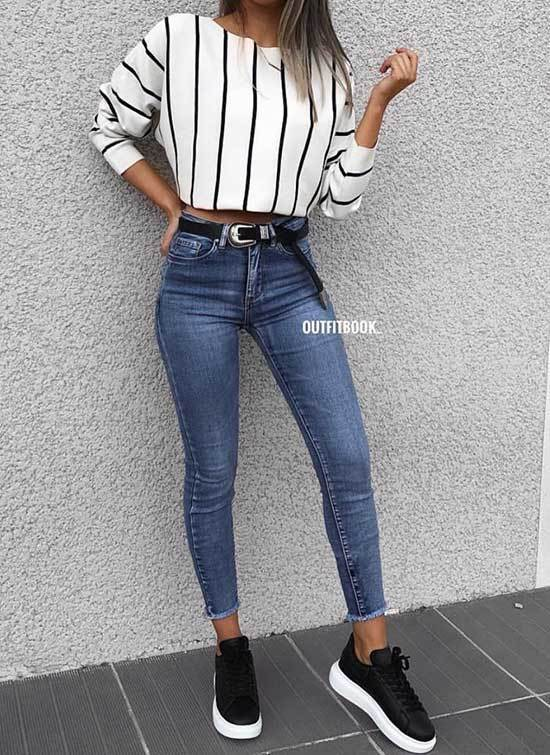 Cute Striped Blouse Outfits with Blue Jeans
