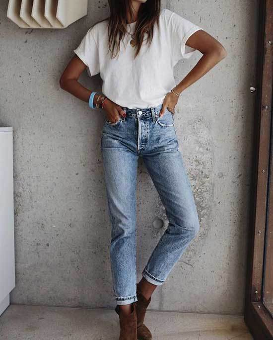 Cute Brown Boots Outfits with Blue Jeans