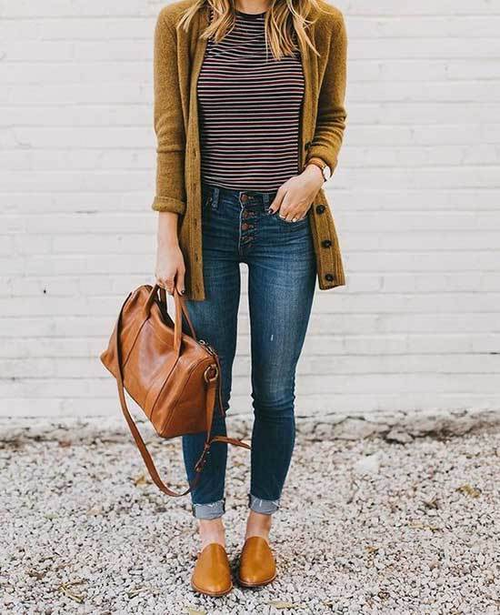 Brown Flats Spring Outfits for Women