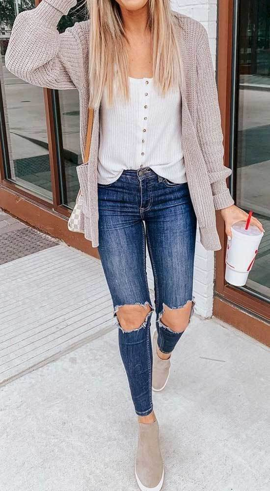 Cute Cardigan Outfits with Blue Jeans