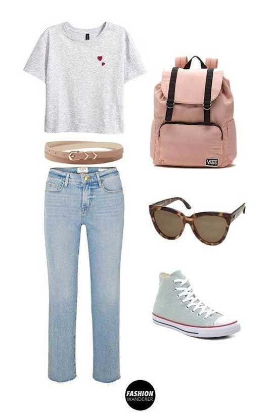 Cute Crop T-Shirt Outfits for School