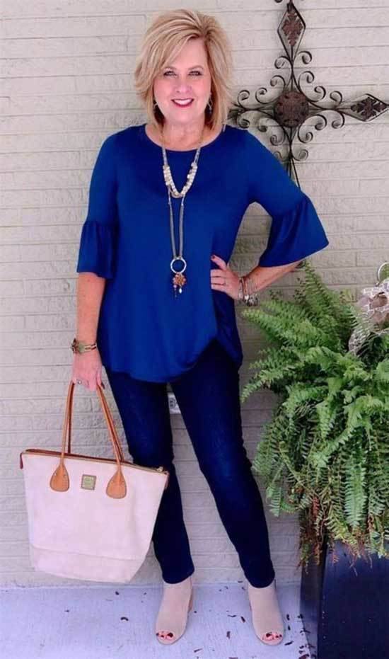 Dark Blue Jeans Spring Outfits for Over 50