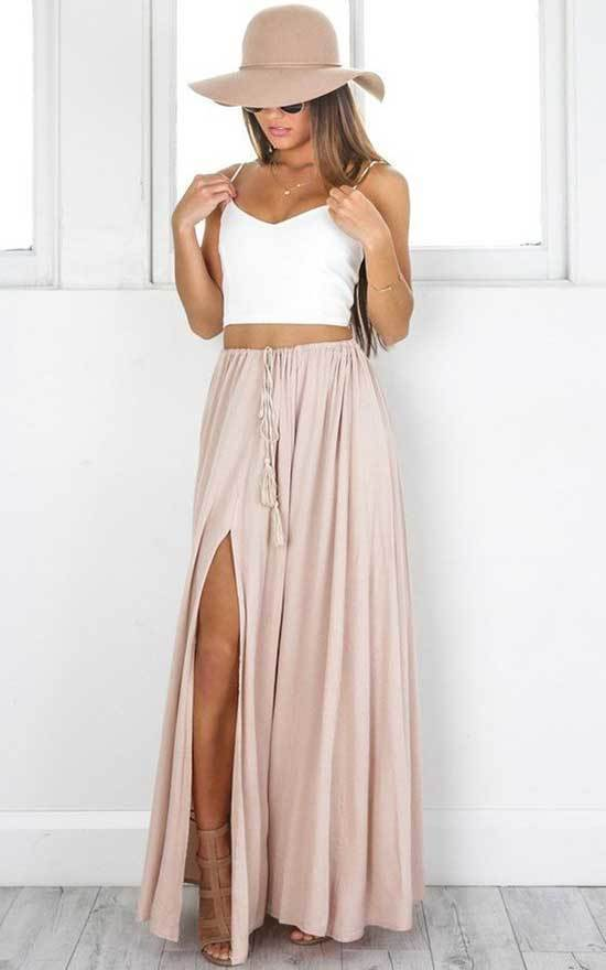 High Waist Long Skirt Outfit
