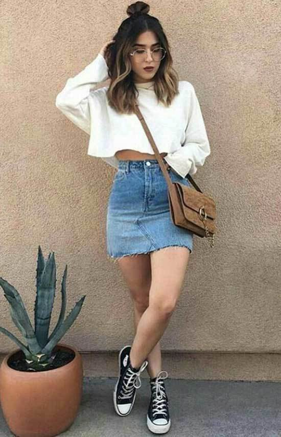 Cute Outfits with High Waisted Mini Jean Skirt