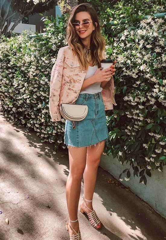 Cute Spring Jacket Outfits with High Waisted Skirts