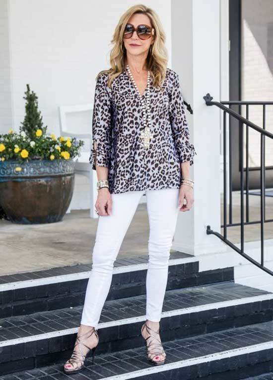 Leopard Blouse Spring Outfits for Over 50