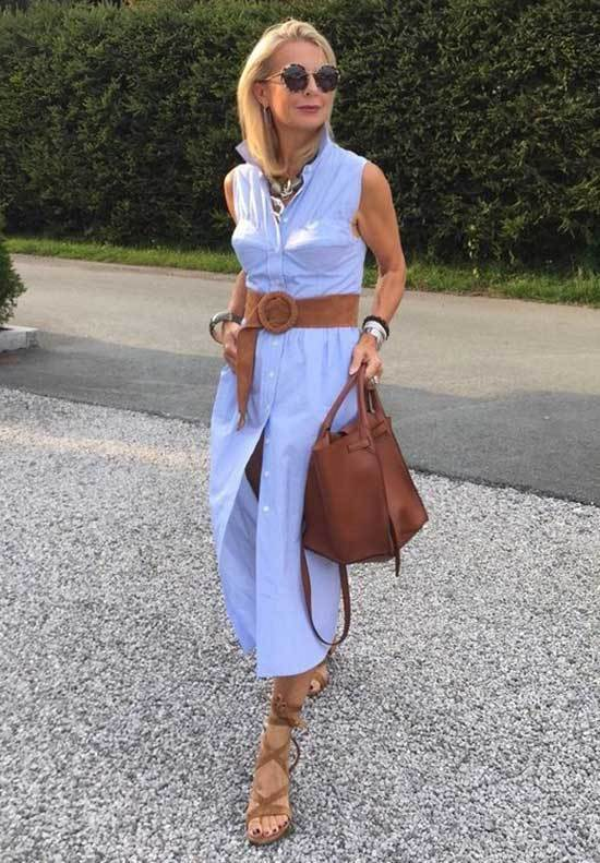 Light Blue Dress Spring Outfits for Over 50