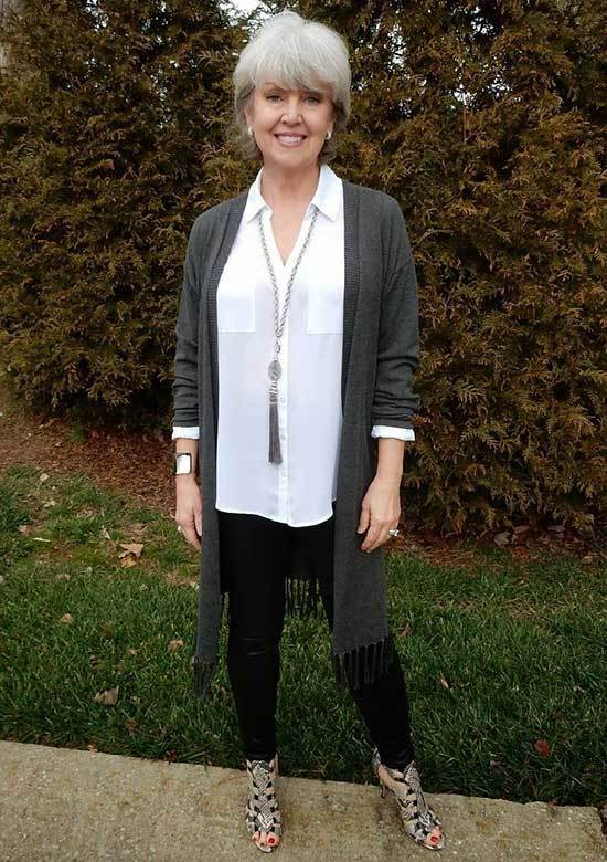 Long Grey Cardigan Spring Outfits for Over 50
