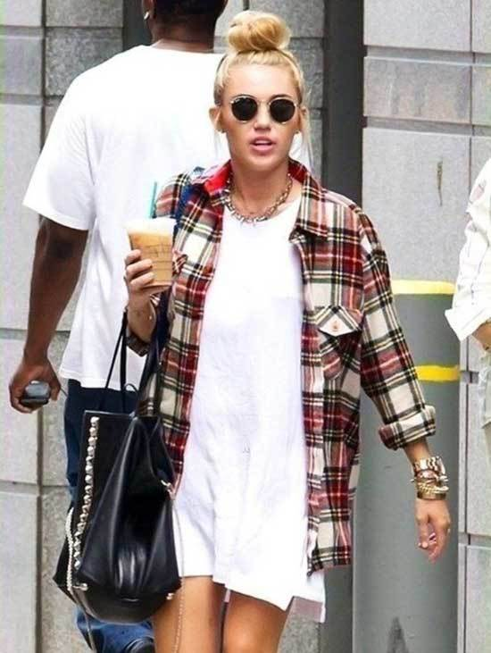 Miley Cyrus Flannel Shirt and Dress Outfits