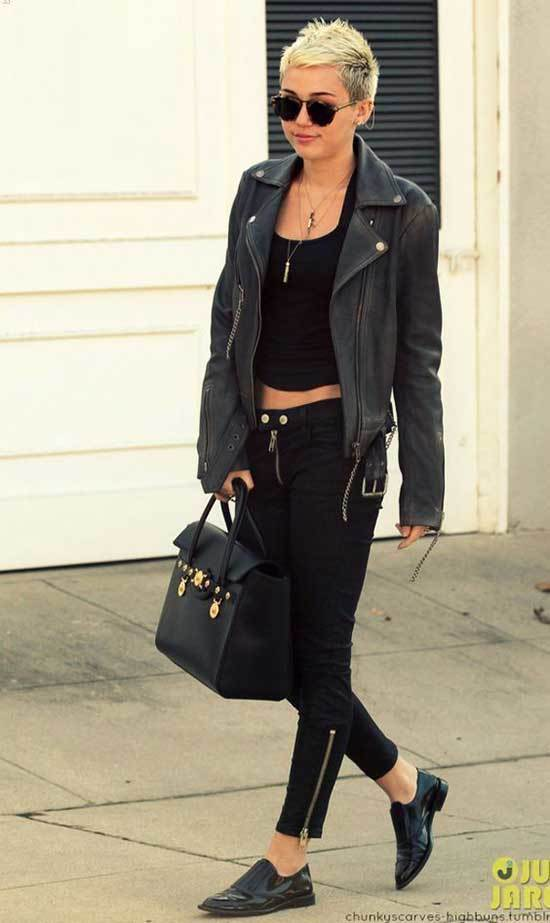 Miley Cyrus Leather Jacket Outfits