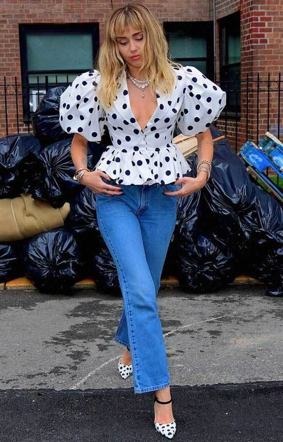 Miley Cyrus Puff Shoulder Blouse Outfits