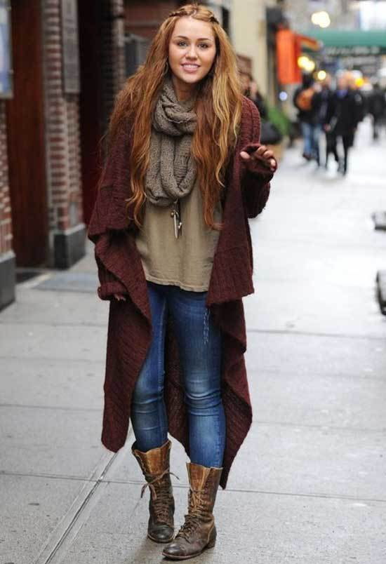 Miley Cyrus Outfits for Cold Weather