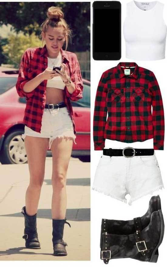 Miley Cyrus White Shorts Outfits