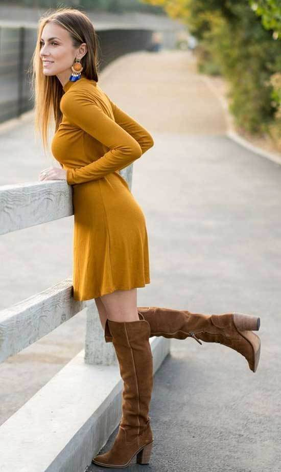 Mustard Yellow Dress Brown Boots Outfit Ideas