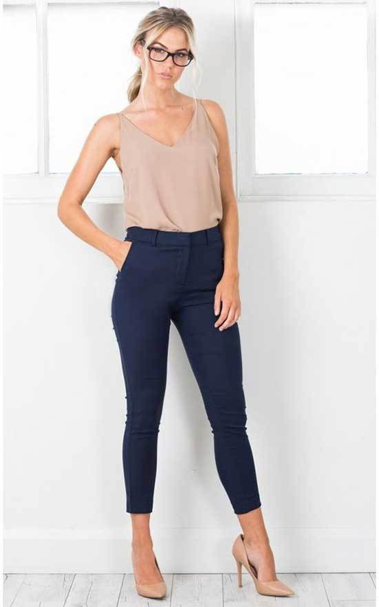 Simple Office Navy Blue Pants Outfits
