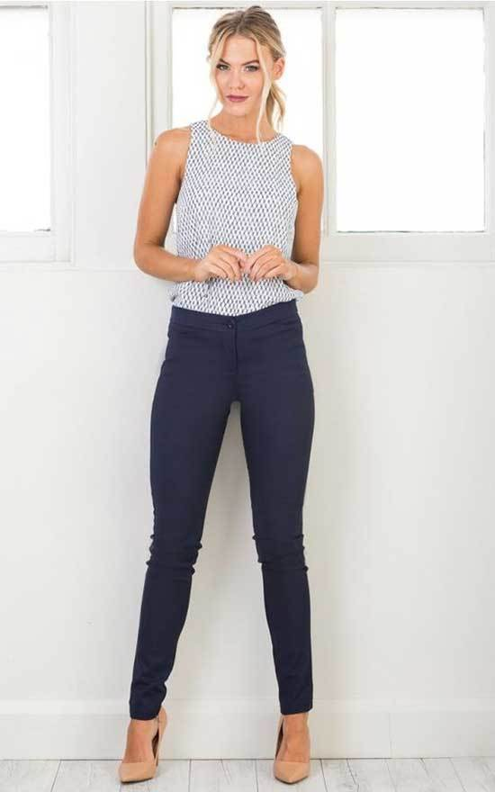 Simple Office Navy Pants Outfits