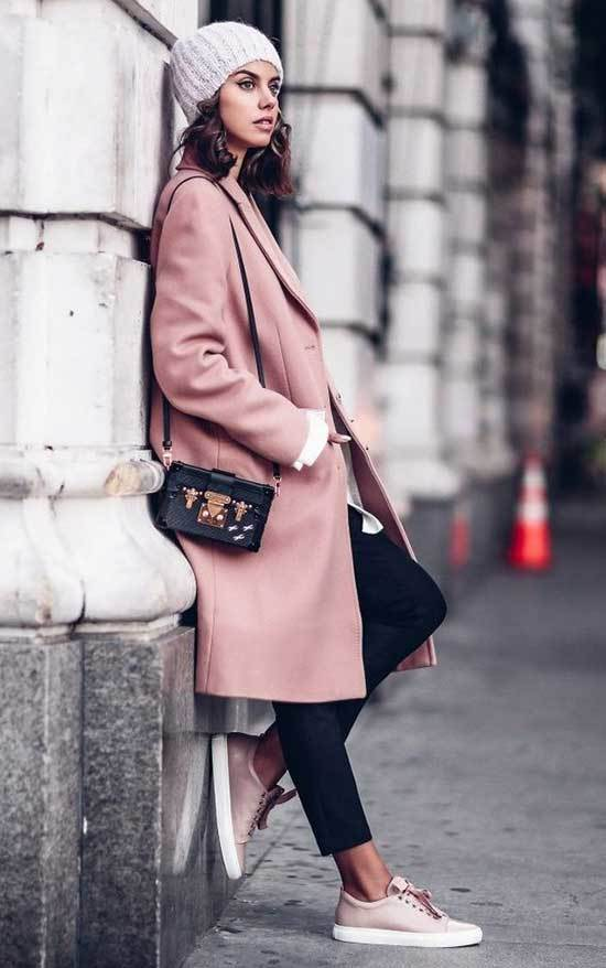 Sneakers Pink Coat Outfit