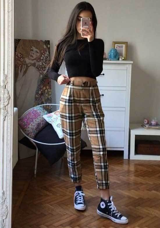 Plaid Pants Outfits for School