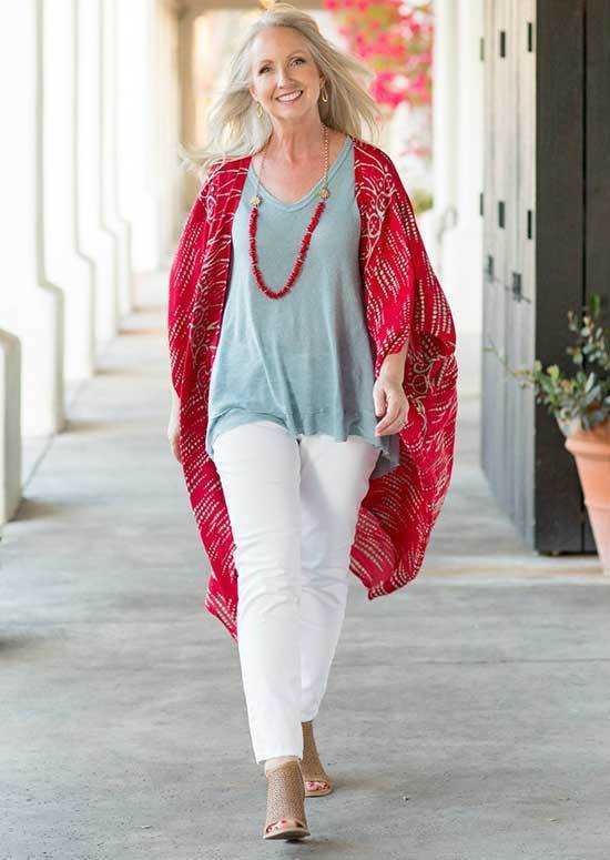 Red Kimono Spring Outfits for Over 50