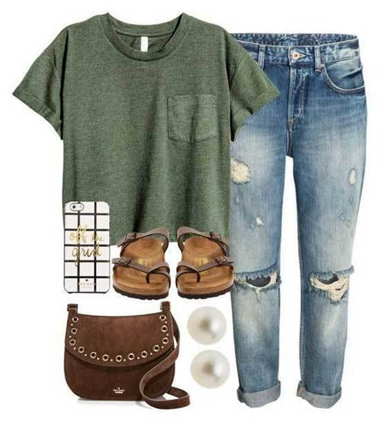 Ripped Jeans Outfits for School