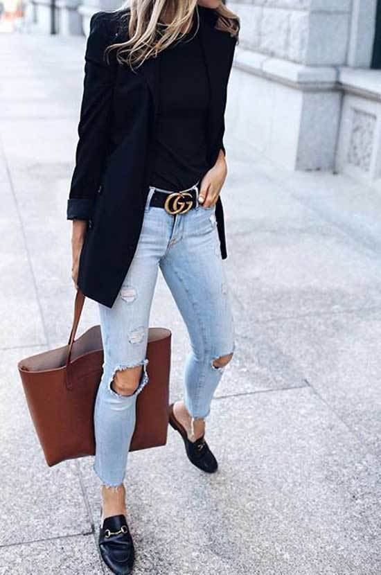 Simple Office Ripped Jeans Style Outfits