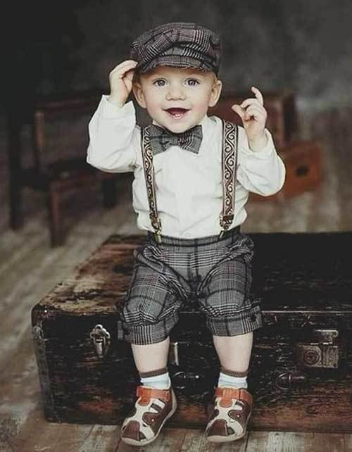 Shoulder Strap Bow Autumn Outfits for Toddler Boy