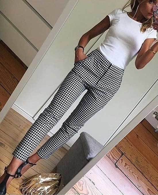 Simple Office Checkered Pants Outfits