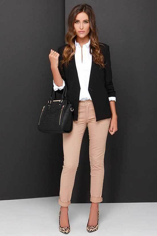 Simple Office Outfits with Leopard Heels