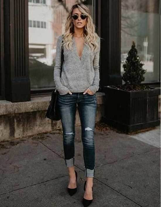Spring Gray Sweater Outfits for Women