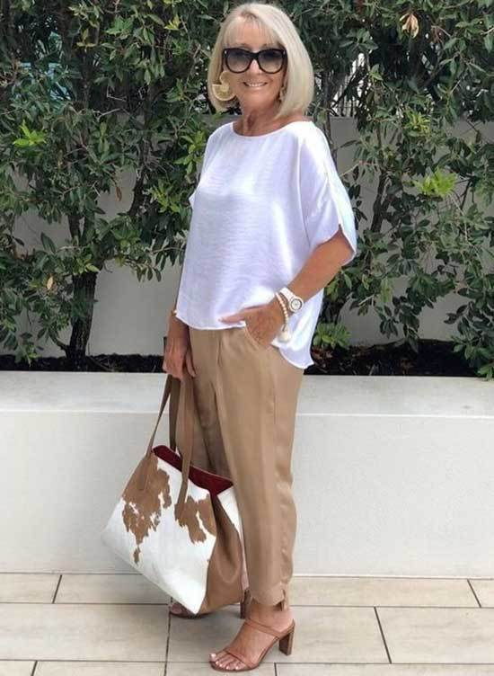 Cream Pants Spring Outfits for Over 50