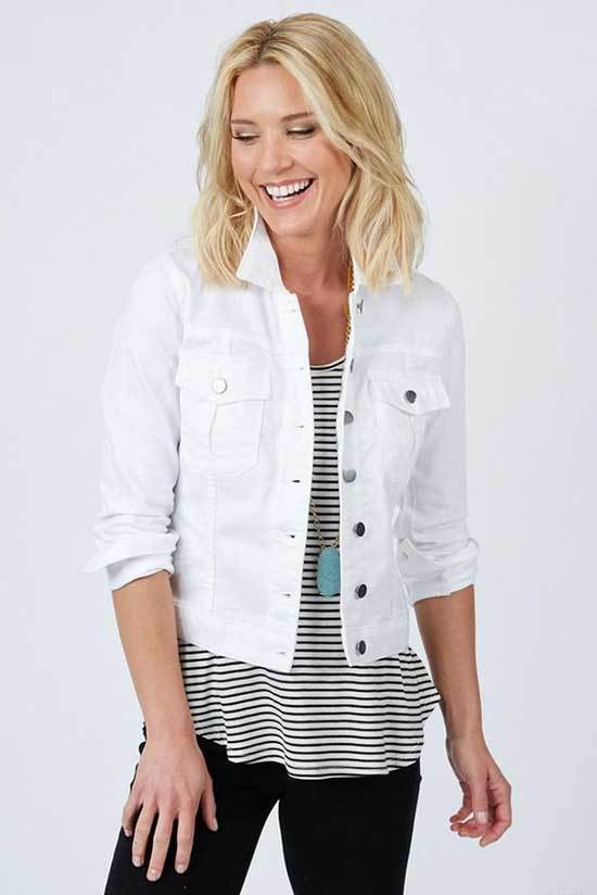 Spring White Jean Jacket Outfits for Over 50
