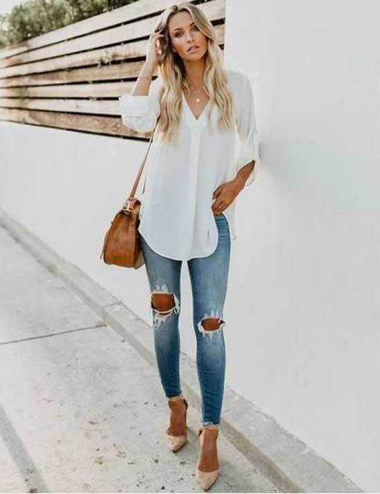 White Shirt Spring Outfits for Women