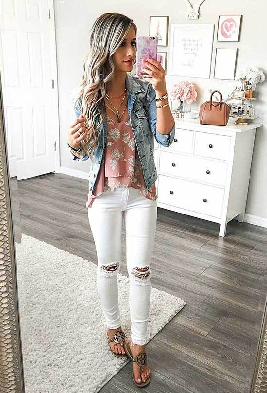 White Ripped Jeans Spring Outfits for Women