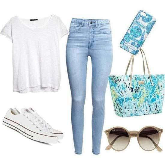 Blue Jeans Outfits for School