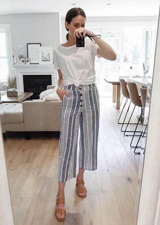 Simple Office Cropped Pants Outfits