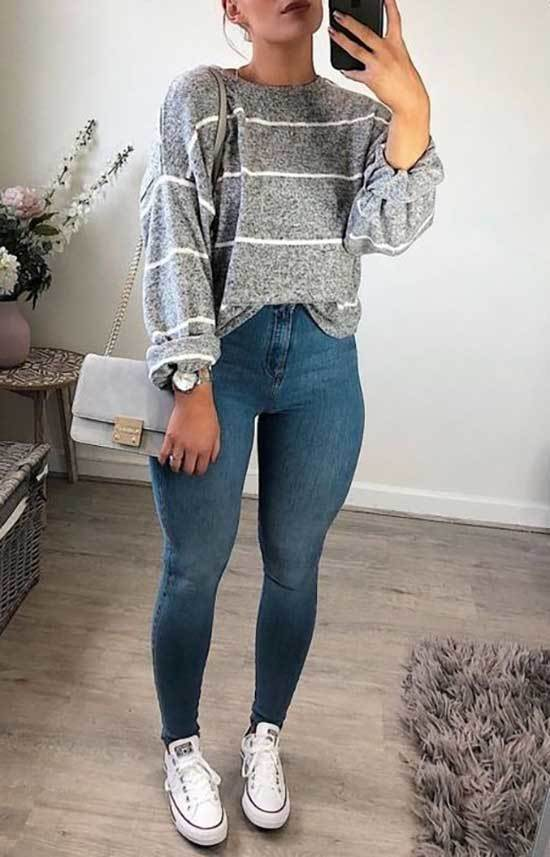 Grey Sweater Outfit Ideas for School-10
