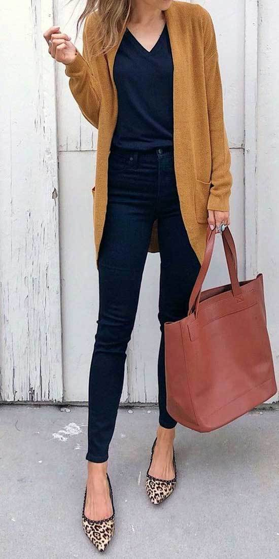 Mustard Brown Cardigan Work Outfits Fall 2019-15
