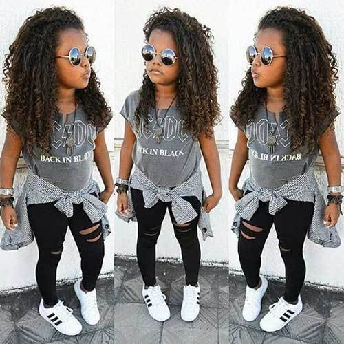 Cute Little Girl Black Jeans Outfits-17