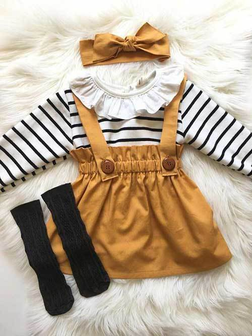 Cute Little Girl Suspender Skirt Outfits-18