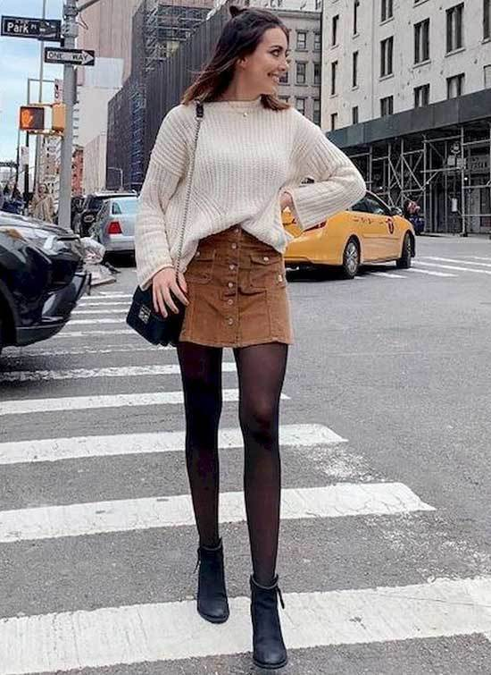 Mini Brown Skirt Work Outfits Fall 2019-18