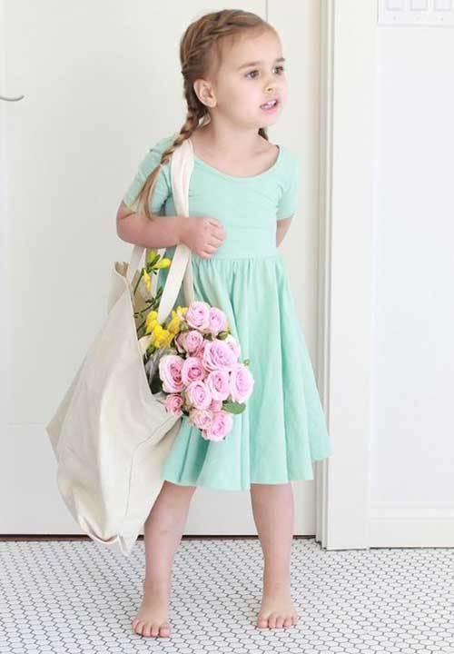 Cute Little Girl Blue Dress Outfits-7