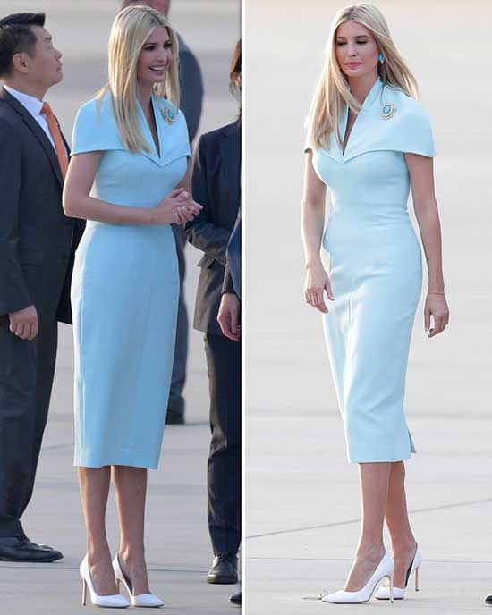 Ivanka Trump Thight Blue Dress Outfits