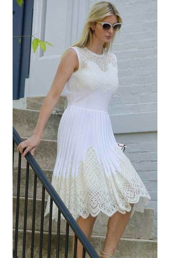 Ivanka Trump White Lace Dress Outfits
