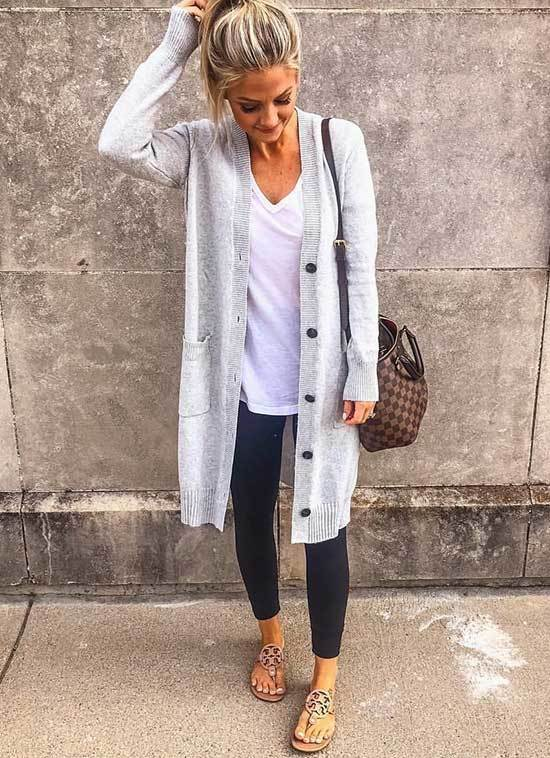 Long Grey Cardigan Casual Spring Outfits 2019